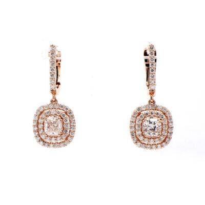 Dangling Semi-Mount Earrings in 14K RG w/ Round diamonds D0.81ct.t.w.