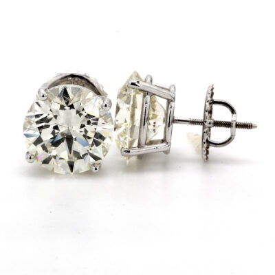 Stud Earrings in 14K WG w/ M/SI1-SI2 GIA Round diamonds D8.04ct.t.w.