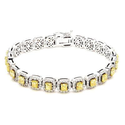 "7"" Halo Tennis Bracelet in 18K WG w/ FIY Cushion cuts & Round diamonds D9.94ct.t.w."