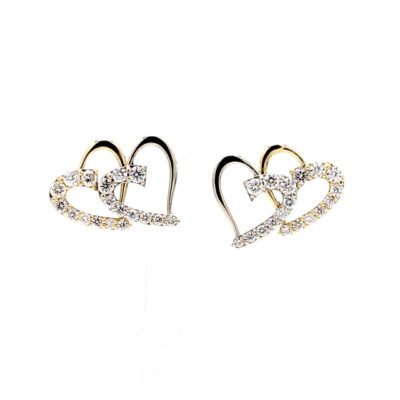 Double Heart Earring in 14K two-tone with Round diamonds D0.74ct.t.w.