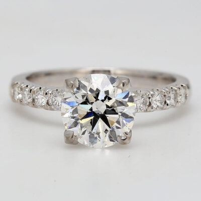 Engagement Ring in 14K WG w/ 2.01ct. E/SI2 GIA Round diamond center D2.35ct.t.w.
