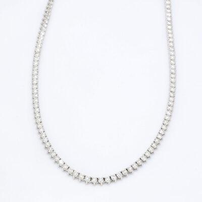 """16.5"""" Straight Line Tennis Necklace in 14K WG w/ Round diamonds. D6.06ct.t.w."""