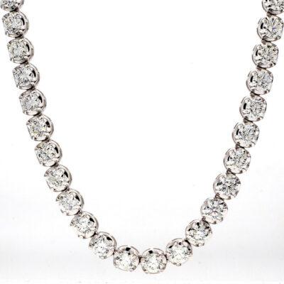 """17"""" Tennis Necklace in 18K WG w/ (71) Round diamonds. D21.71ct.t.w."""