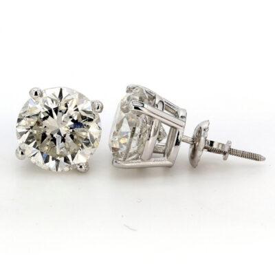 Stud Earrings in 14K WG w/ USA certified G/SI3 Round diamonds. D6.39ct.t.w.