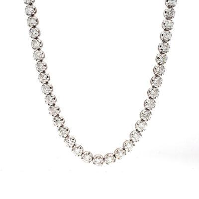 """17"""" Tennis Necklace in 14K WG w/ (101) Round diamonds. D8.88ct.t.w."""
