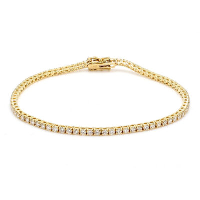 """7.5"""" Tennis Bracelet in 14K YG  w/ Round diamonds. D2.39ct.t.w."""