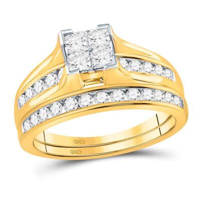 14kt Yellow Gold Princess Diamond Bridal Wedding Ring Band Set 1 Cttw - Size 6