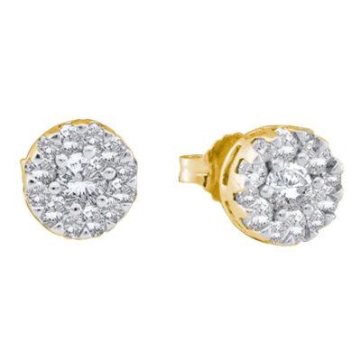 14kt Yellow Gold Womens Round Diamond Flower Cluster Stud Earrings 1/2 Cttw