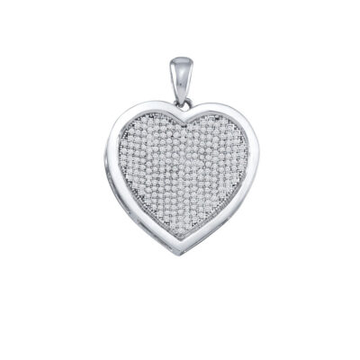 10kt White Gold Womens Round Diamond Heart Pendant 3/4 Cttw