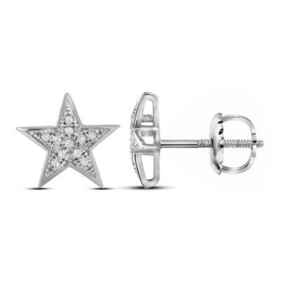 10kt White Gold Womens Round Diamond Star Earrings 1/20 Cttw