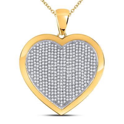 10kt Yellow Gold Womens Round Diamond Heart Pendant 1 Cttw