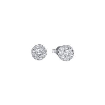 14kt White Gold Womens Round Diamond Flower Cluster Stud Earrings 1/4 Cttw