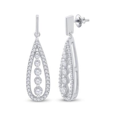 14kt White Gold Womens Round Diamond Teardrop Dangle Earrings 3/4 Cttw