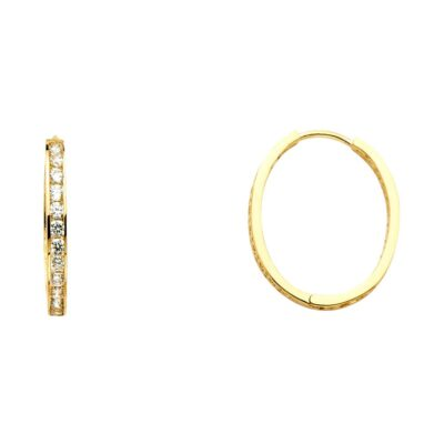 14KY RD CZ CHANNEL OVAL HOOPS