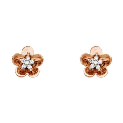 14K PINK GOLD CZ FLOWER P-EAR