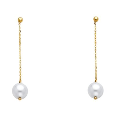 14KY PEARL HANGING EARRING