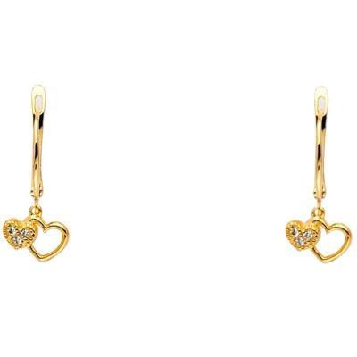 14KY CZ 2 HEARTS HANGING EARRING