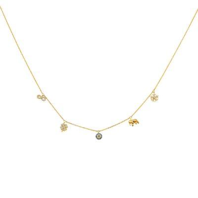 14K CZ Dangling Light Chain Necklace