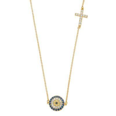 14KY Evil Eye Light Chain Necklace