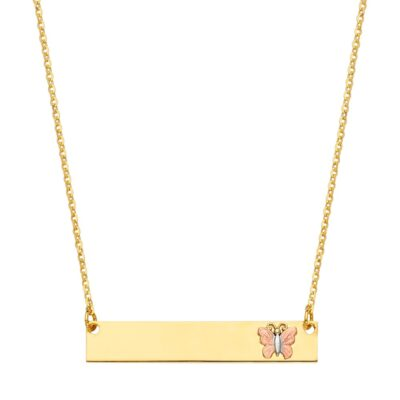 14K ID w/Butterfly Chain Necklace