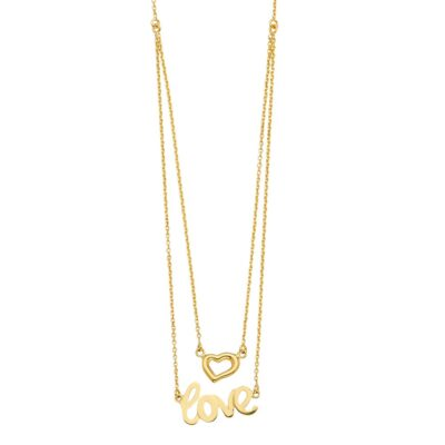 14KY 2Lines Chain Necklace w/Heart+Love