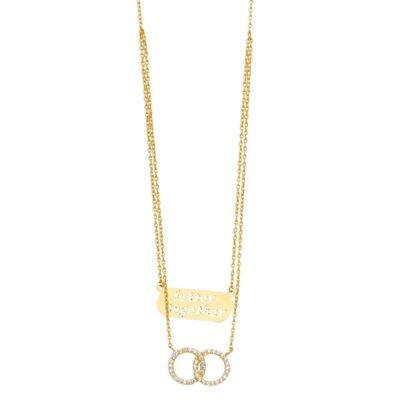 14KY 2Lines Chain Necklace w/CZ Eternity