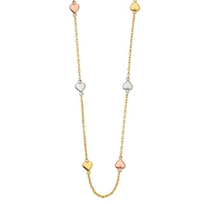 14K 3Color Light Chain Necklace with Heart