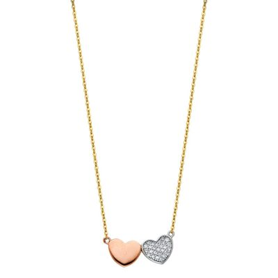 14K TWO HEART CZ NECKLACE