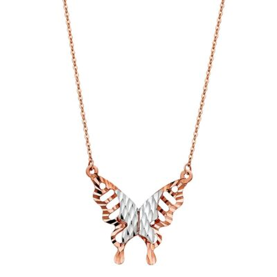 14K PINK BUTTER FLY NECKLACE