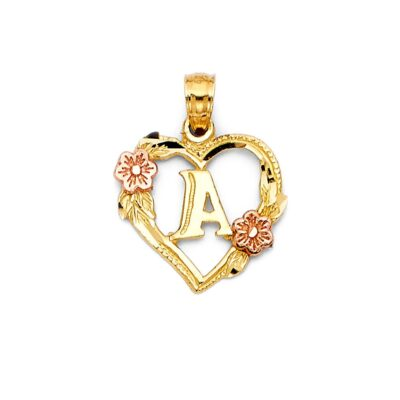"""14KY INITIAL SQUARE PENDANT """"A"""""""