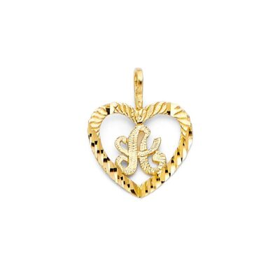 """14KY INITIAL HEART PENDANT """"A"""""""