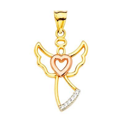 14K CZ Angel Pendant