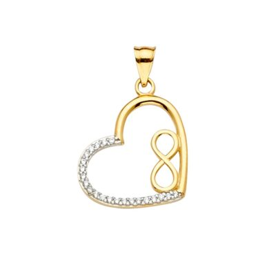 14KY CZ Heart infinity Pendant