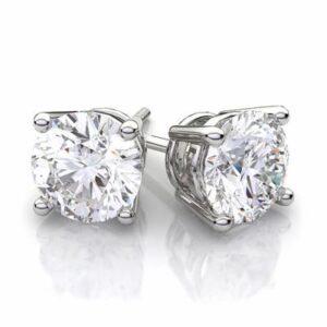2.48 ctw. Round Brilliant Diamond Stud Earrings in 14k White Gold