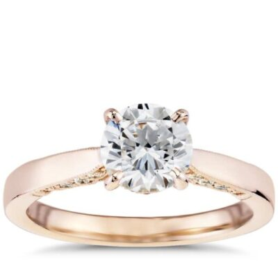 1.58 ct. Round Cut Diamond Engagement Ring in 14k Rose Gold