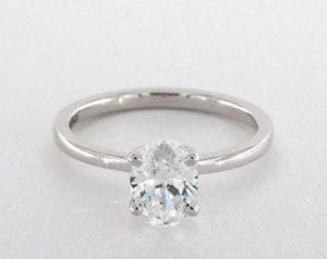 1.02 ct. Oval Cut Diamond Ring in a 14K White Gold Solitaire Setting