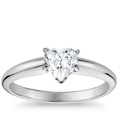 1.32 ct. Heart Cut Diamond Ring Set in a 14kt White Gold Solitaire Setting