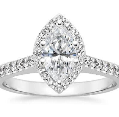 1.92 ctw. Marquise Cut Diamond Engagement Ring in a 14K White Gold Halo Setting