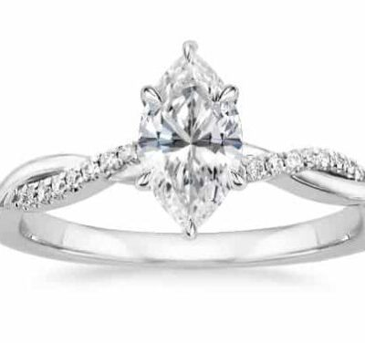 1.38 ctw. Marquise Cut Diamond Twist Shape Engagement Ring In 14K White Gold
