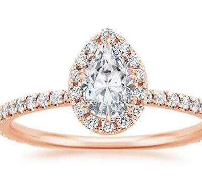 1.38 ctw. Pear Cut Diamond Engagement Ring set in 14k Rose Gold