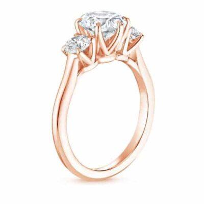 2.05 ctw. Round Cut Three Stone Diamond Ring in 14K Rose Gold