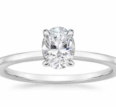 1.78 ct. Oval Cut Diamond Engagement Ring set in 14k White Gold