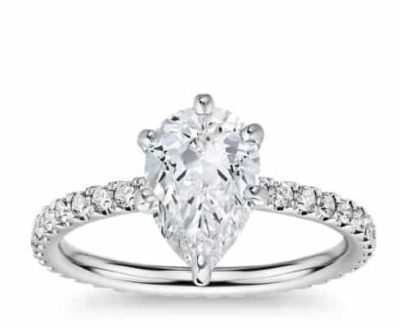 1.96 ctw. Pear Shape Diamond Engagement Ring set in 14k White Gold