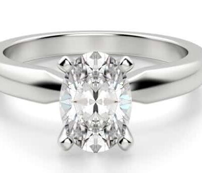 1.55 ct. Oval Cut Diamond Ring in 18k White Gold