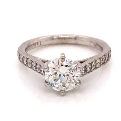 1.65 ctw. Round Cut Diamond Vintage Ring in 14K White Gold