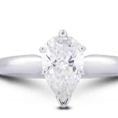 1.72 ct. Pear Cut Diamond Solitaire Ring set in 14kt White Gold