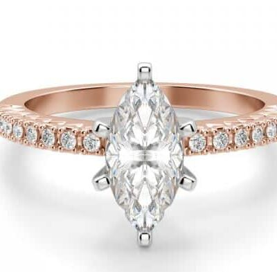 1.78 ctw. Marquise Cut Diamond Ring with Side Stones in 14K Rose Gold