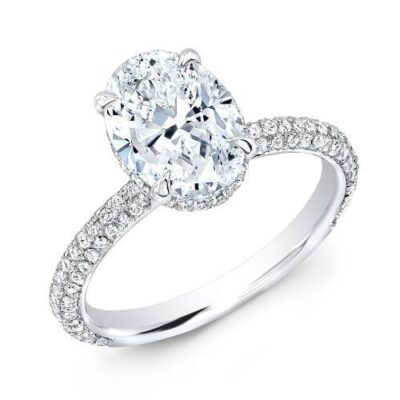 2.01 ctw. Oval Cut Diamond Ring set In a White Gold Pave Diamond Setting