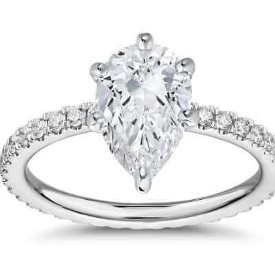 1.60 ctw. Pear Cut Diamond Ring with Side Stones in 14k White Gold