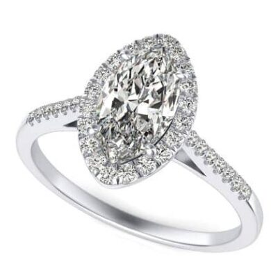 2.28 ctw. Marquise Cut Diamond Halo Ring in 14K White Gold